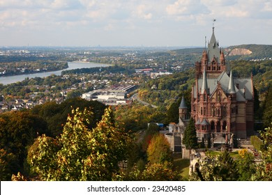 Drachenfels castle and River Rhine in Bonn, Germany