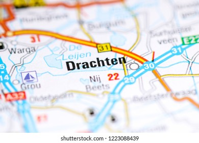 Drachten. Netherlands on a map