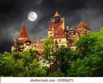 Dracula, medieval building of Transylvania, castle of Bran town in Halloween concept.