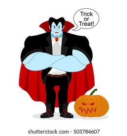 Dracula and pumpkin. Serious Powerful vampire guards vegetable. Strong demon crossed his arms. Red cape. trick or treat. Halloween illustration