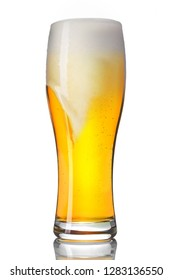 Draft lager beer isolated on white background.