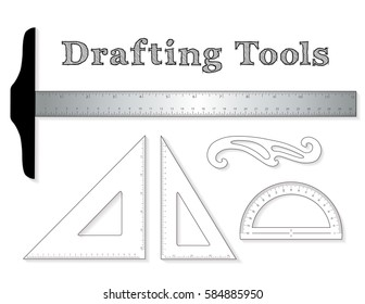 Drafting Tools, for architecture and engineering: aluminum T-square with inch and centimeter measure, 45 degree triangle, 60 degree triangle, ruler, French Curve, protractor isolated on white.