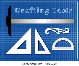 Drafting tools for STEM: architecture, engineers, science, math. Aluminum T-square inch and centimeter measure, 45 degree triangle, 60 degree triangle, French Curve, protractor, blueprint background.