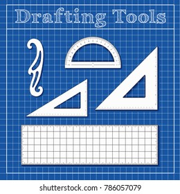 Drafting tools for STEM: architecture, engineers, science, math.  45 degree triangle, 60 degree triangle, ruler, French Curve, protractor, blueprint background