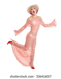 Drag Queen in Pink Evening Dress Performing, on white background