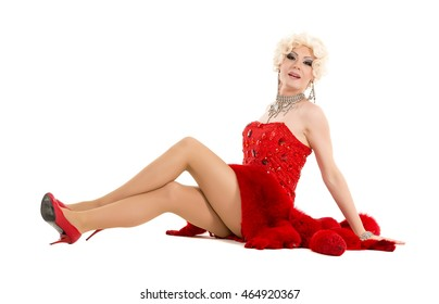 Drag Queen in Red Dress with Fur Lying on the Floor, on white background