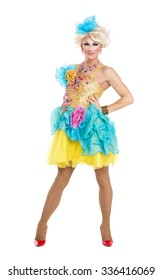 Drag Queen in Yellow-Blue Dress Performing, on white background