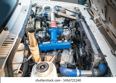 Drag racing car engine, hot-rod supercharger and engine bay detail, street car racers