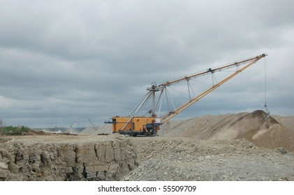 Draglines in open cast mining quarry