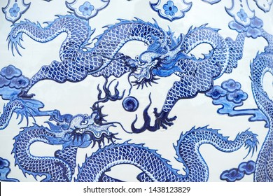 Dragon. A beautiful dragon pattern on a Chinese water jar. This is a common pattern and massively produced in Thailand and China.