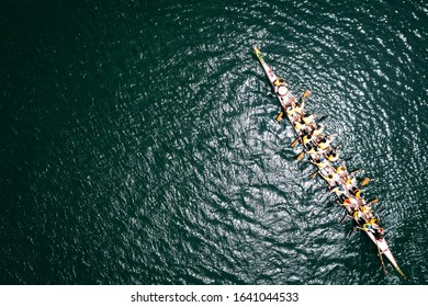 Dragon boat from above. Overhead view
