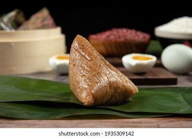 Dragon Boat Festival ,Chinese rice dumpling zongzi on reed leaves