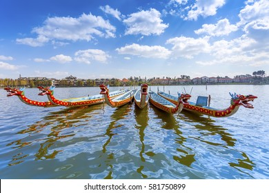 Dragon boat on the lake