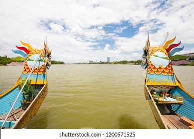 Dragon Boats situated on Perfume River in Hue City in Central Vietnam