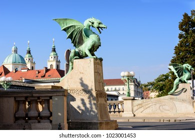 Dragon Bridge Cathedral Saint Nicholas Ljubljanica River Ljubljana Slovenia