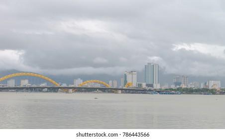 Dragon Bridge (Cau Rong) in Danang Vietnam Dec 2017.