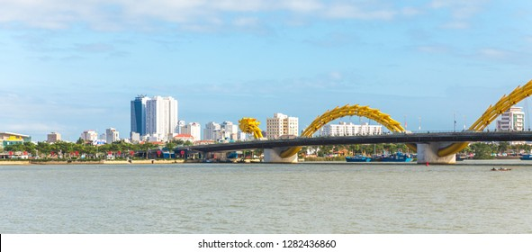 Dragon bridge in evening in Danang, Vietnam