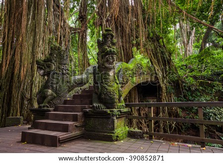 Dragon Bridge in Sacred Monkey Forest Sanctuary, Ubud, Bali, Indonesia