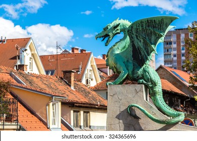 Dragon bridge in a summer day in Ljubljana, Slovenia