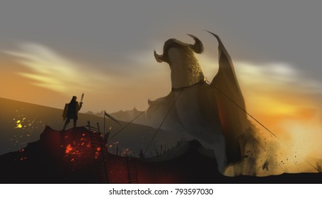 a dragon chained by the knight in abandoned land, fairy tale concept, digital art illustration painting.