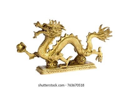 dragon china style isolate  on white.Golden dragon isolate on white.Golden dragon statue.