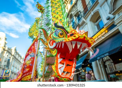 Dragon dance at chinese new year celebrations in London