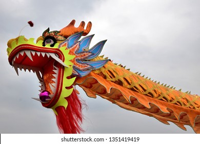 Dragon dance performance on the occasion of Nian Li. Dragon dance is a form of traditional dance in Chinese culture. It symbolizes the imagined movements of the river spirit in a sinuous manner.