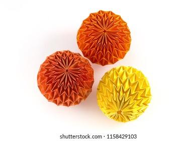 Dragon eggs on white background, origami balls, magic balls, structural design