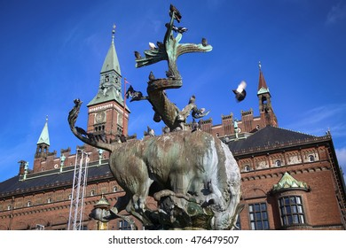 Dragon fountain and Radhus, Copenhagen city hall in Copenhagen  Denmark