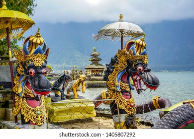 Dragon fountains at Balinese Hindu temple Pura Ulun Danu Beratan, Bali, Indonesia.