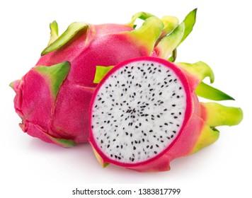 dragon fruit isolated on white background, fresh pitahaya