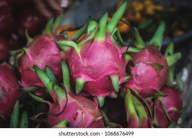 Dragon fruit in a market