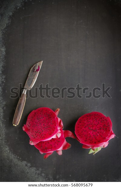 Dragon fruit on black background