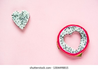Dragon fruit on the pink background