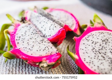 dragon fruit on silver background