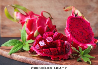 Dragon fruit on a wooden board