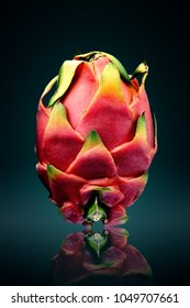 Dragon fruit ( pitaya ) still life  with reflection on surface