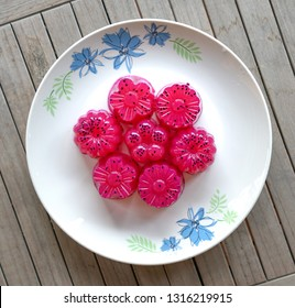 Dragon fruit (red) agar agar (Jelly) sweet dessert - top view