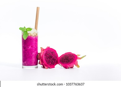 A dragon fruit smoothie with muesli mint and whipped cream to top it off.