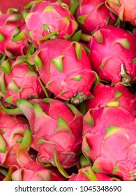 Dragon fruits at the market stall in Chiang Mai, Thailand.
