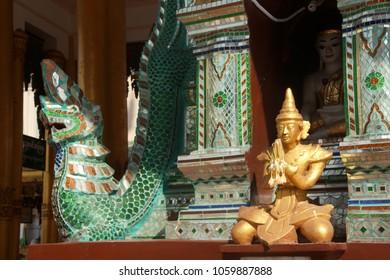Dragon guardian of the  Bell of King TharrawaddyShwedagon Pagoda,  Yangon (Rangoon),  Myanmar (Burma)