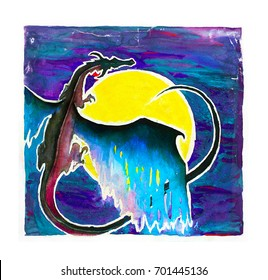 Dragon hand painted illustration in mystic blue and violet colors on the yellow solar disc background.