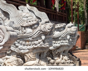 Dragon heads at the Lam Kinh temple in Xuan Lam and Lam Son townlet of Tho Xuan district, Thanh Hoa, Vietnam. The temple was built by national hero Le Loi during the early 15th century.