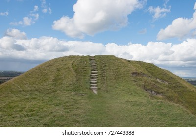 Dragon Hill on the Chalk Ridgeway Escarpment by the Bronze Age Hill Fort of Uffington Castle and White Horse Hill on the Berkshire Downs in Rural Oxfordshire, England, UK