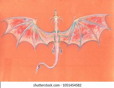 dragon illustration pastel crayons