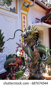 Dragon made of mosaic tiles,  Fukian Assembly Hall, Hoi An, Vietnam