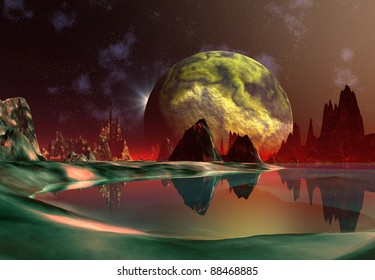 Dragon Moon part 1, futuristic fantasy scene, alien moon with mountains and lakes