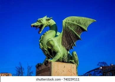 Dragon on the Dragon bridge (Zmajski most) in Ljubljana, Slovenia, Europe
