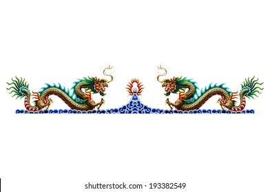 dragon on roof of chinese's temple on white background