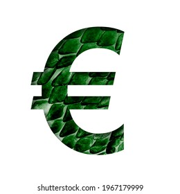 Dragon skin font. Euro money symbol cut out of paper on the background of the dark green skin of a mystical dragon with scales. Set of decorative fonts